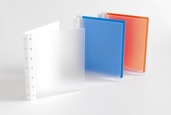 "Presence 3-Ring Binder by Case Envy » .5"" (tabloid) Landscape » Frosted Clear Front and Orange Back with White Hinge - Click Image to Close"