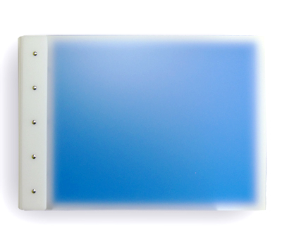 "Presence 3-Ring Binder by Case Envy » .5"" (letter) Landscape » Frosted Clear Front and Blue Back with White Hinge - Click Image to Close"