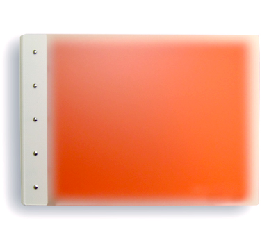 "Presence 3-Ring Binder by Case Envy » .5"" (letter) Landscape » Frosted Clear Front and Orange Back with White Hinge - Click Image to Close"