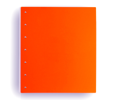 "Presence 3-Ring Binder by Case Envy » 2"" (letter) Portrait » Orange Front and Back with White Hinge - Click Image to Close"