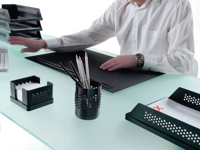 Modus Desk Pad with Pencil Tray by Rexite » Black Pad and Tray - Click Image to Close