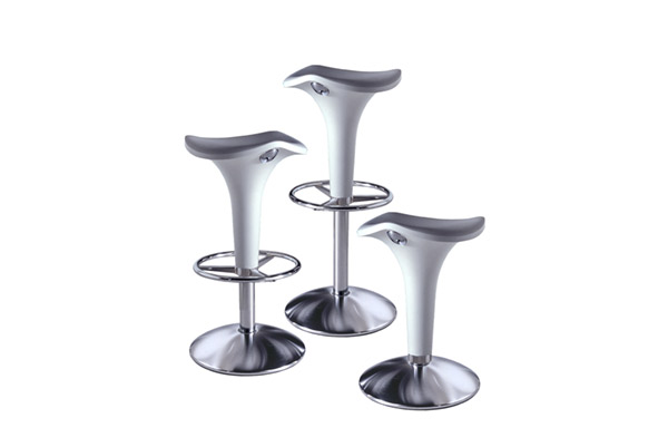 Zanzibar Adjustable Height Stool with Gas Lift and Floor Fixing Joint by Rexite » Aluminum (Chromium Buttons) - Click Image to Close