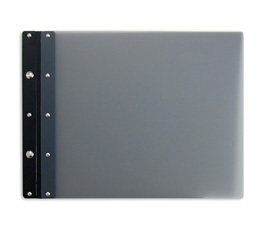 Ice Nine Light Screwpost Portfolio Cover by Case Envy » 8.5x11 Landscape » Grey Front and Back with Black Hinge