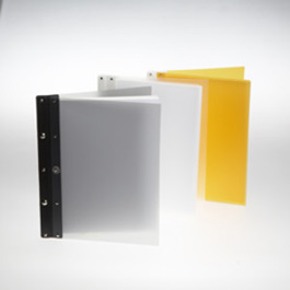 Ice Nine Light Screwpost Portfolio Cover by Case Envy » 8.5x11 Portrait » Clear Front and Back with White Hinge