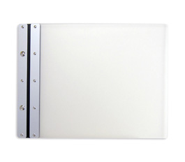 Ice Nine Pro Screwpost Portfolio Cover by Case Envy » 8.5x11 Landscape » Frosted Clear Front and Back with Silver Spine and Black Hinge