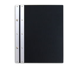Ice Nine Pro Screwpost Portfolio Cover by Case Envy » 8.5x11 Portrait » Matte Black Front and Back with Silver Spine and Black Hinge