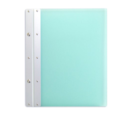 Ice Nine Pro Screwpost Portfolio Cover by Case Envy » 8.5x11 Portrait » Frosted Green Front and Back with Silver Spine and White Hinge