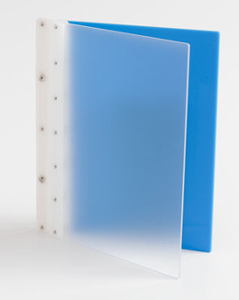 Ice Nine Screwpost Portfolio Cover by Case Envy » 11x14 Portrait » Frosted Clear Front and Blue Back with White Hinge