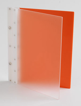 Ice Nine Screwpost Portfolio Cover by Case Envy » 8.5x11 Portrait » Frosted Clear Front and Orange Back with White Hinge