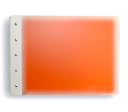 "Presence 3-Ring Binder by Case Envy » .5"" (letter) Landscape » Frosted Clear Front and Orange Back with White Hinge"