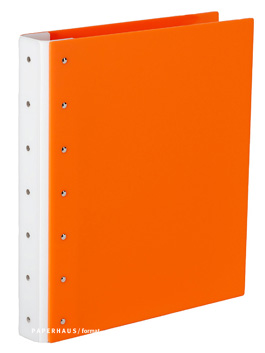 "Presence 3-Ring Binder by Case Envy » 1"" (letter) Portrait » Orange Front and Back with White Hinge"