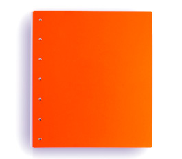 "Presence 3-Ring Binder by Case Envy » 2"" (letter) Portrait » Orange Front and Back with White Hinge"
