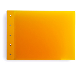 "Presence Light 3-Ring Binder by Case Envy » 1"" (tabloid) Landscape » Orange Front and Back with White Hinge"