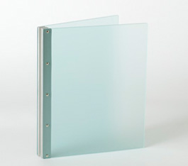 Looking Glass Screwpost Portfolio Cover by Lost Luggage » 11x14 Portrait » Frosted Green Acrylic with Silver Hinge