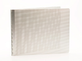 Handmade Perforated Screwpost Portfolio Cover by Shrapnel Design � 11x14 Landscape � Natural Anodized Aluminum