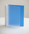 "Presence 3-Ring Binder by Case Envy » 1"" (letter) Portrait » Frosted Clear Front and Blue Back with White Hinge"